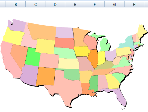 Click A Map To Filter Excel Data Contextures Blog - Us map excel template