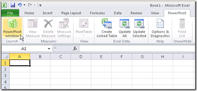 PowerPivot for Excel Ribbon