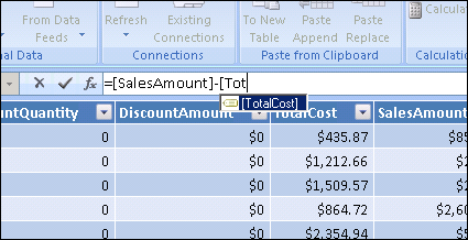 PowerPivot for Excel Formula Bar