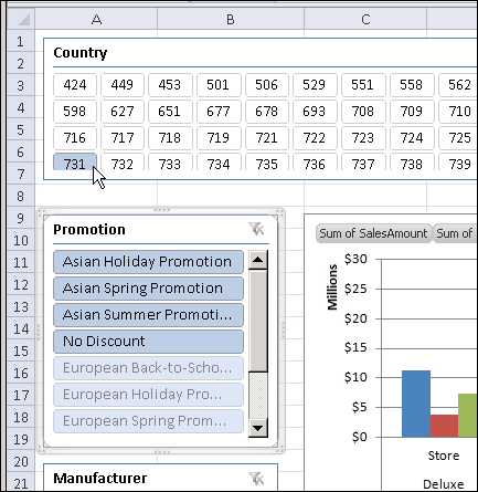PowerPivot for Excel Slicers