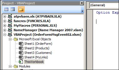 Excel VBE ThisWorkbook