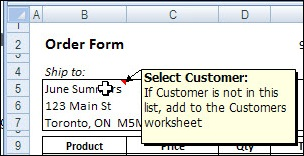 Excel Message Comment