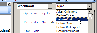 An event procedure for Workbook_open is automatically created, but ...