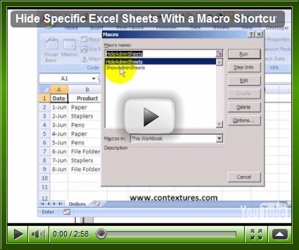 Hide Specific Excel Sheets With Macro - Contextures Blog