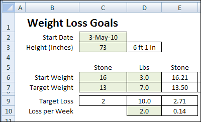 Excel Weight Loss Tracker in Stone - Contextures Blog
