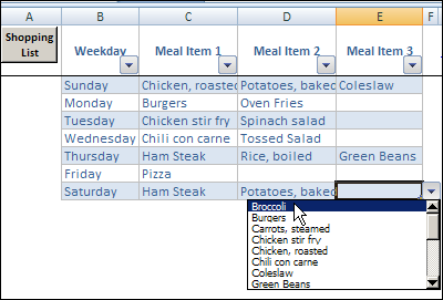 Excel Weekly Meal Planner With Recipe Selector - Contextures Blog