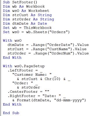 excel footer macro code