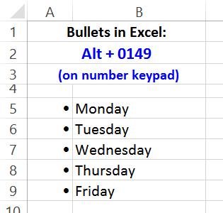 bullets in excel worksheet