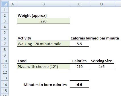 Excel Calorie Burn 03