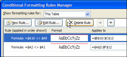 Copying Conditional Formatting In Excel 2010