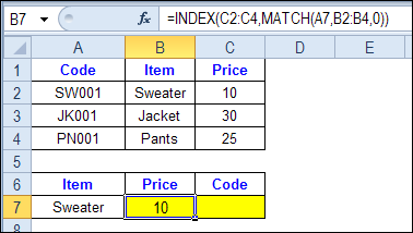 INDEX and MATCH formula