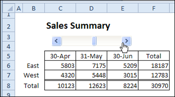 Scroll bar changes excel chart title contextures blog link chart title to worksheet cell ccuart Gallery