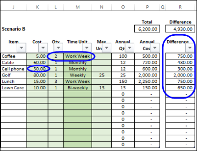Calculate Annual Costs and Savings in Excel - Contextures Blog