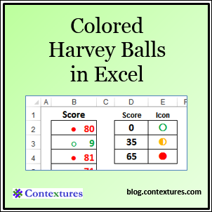 Colored Harvey Balls in Excel blog.contextures.com