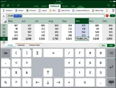 Excel for the iPad