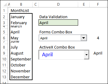 Excel drop down lists