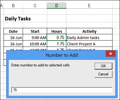 Add amount to multiple cells