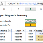 Excel Report Diagnostic Display