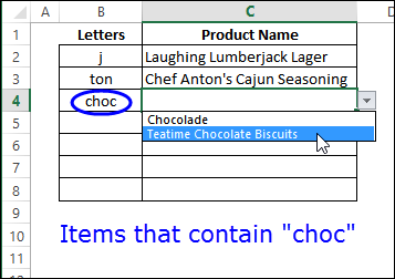 drop down list with specific text http://blog.contextures.com/
