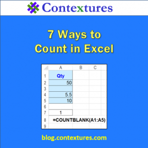 Learn 7 ways to count in Excel, with function tips and tricks http://blog.contextures.com/archives/2015/03/26/how-to-count-in-excel/