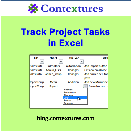 Track Project Tasks in Excel http://blog.contextures.com/