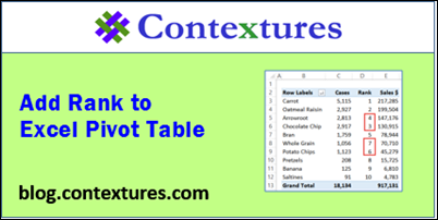 Add Rank to Excel Pivot Table http://blog.contextures.com/