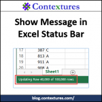 Show Message In Excel Status Bar