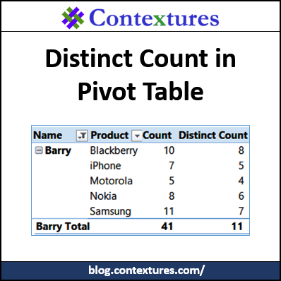 Distinct Count in Pivot Table http://blog.contextures.com/