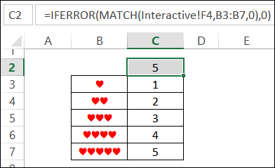 MATCH function with hearts http://blog.contextures.com/