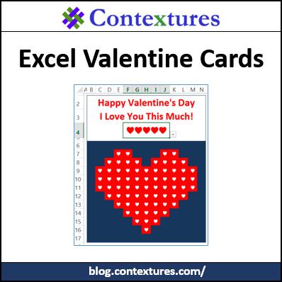 Excel Valentine Cards http://blog.contextures.com/