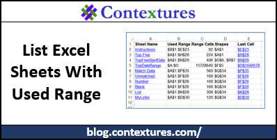 List Excel Sheets With Used Range