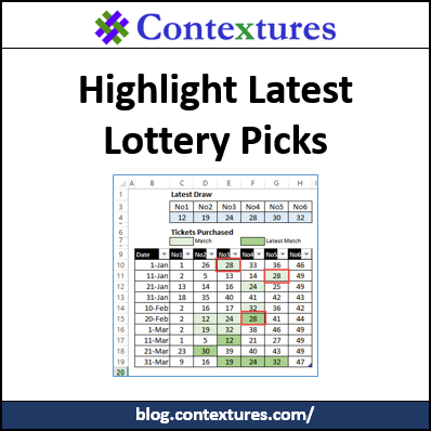 Highlight Latest Lottery Picks in Excel http://blog.contextures.com/