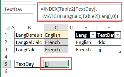 index match formula returns TextDay code
