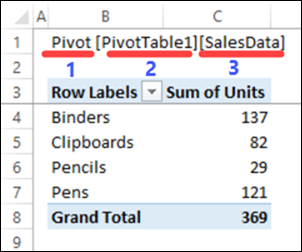 show Excel table name on sheet