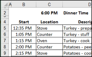 create a schedule in excel