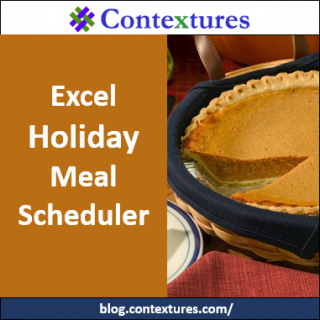 Excel Holiday Meal Scheduler http://blog.contextures.com/