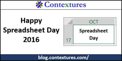 Happy Spreadsheet Day 2016 http://blog.contextures.com/