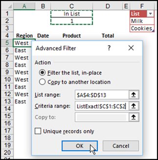 Excel Filter to Match List of Items
