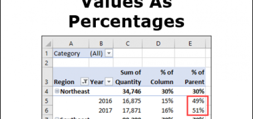 Pivot Table Values As Percentages
