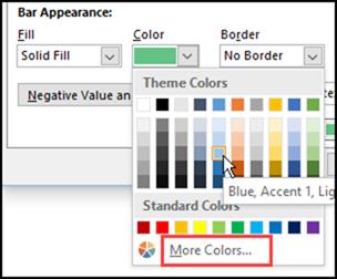Excel Data Bars appearance settings