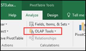 olap tools on Analyze tab