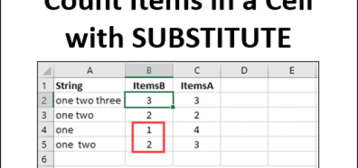 Count Items in a Cell with SUBSTITUTE http://blog.contextures.com/
