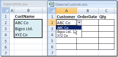 drop down from a list in another workbook