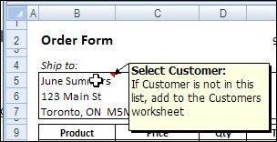Excel Message Comment