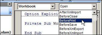 Excel VBE Before Print