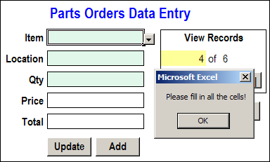 Excel data entry message