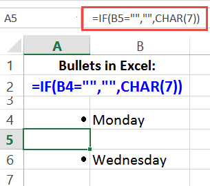 bullets in excel with formula