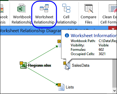 worksheet relationship in Inquire add-in